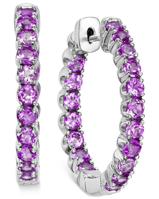 Macy's | Purple Amethyst Inside-out Hoop Earrings (4 Ct. T.w.) In Sterling Silver | Lyst