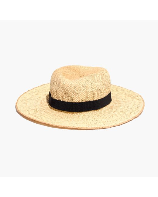 madewell packable straw hat in beige mix