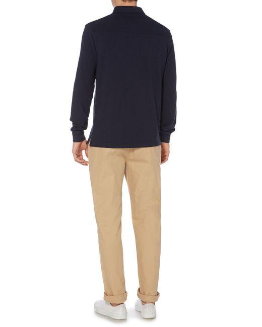 Howick | Blue Paxton Plain Pique Long Sleeve Polo Shirt for Men | Lyst