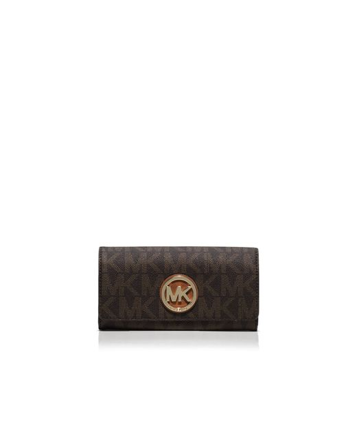 MICHAEL Michael Kors | Brown Fulton Carryall Logo Wallet | Lyst