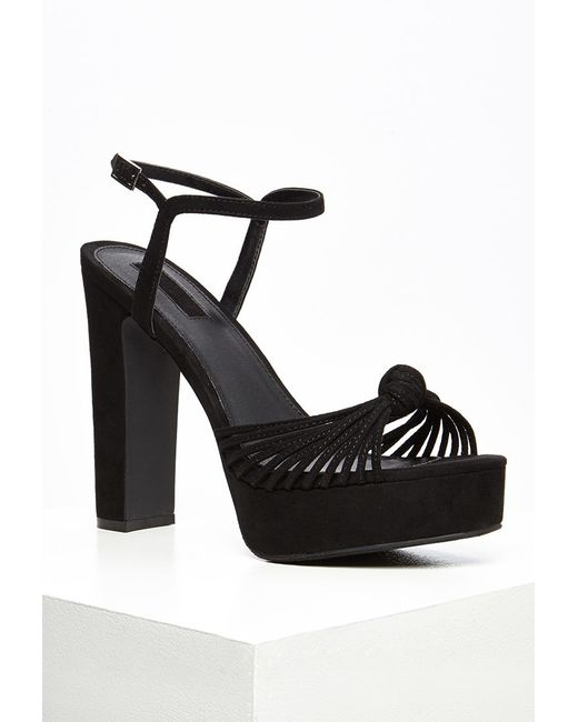Forever 21 | Black Strappy Faux Suede Platform Sandals | Lyst