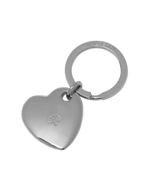 Mulberry | Metallic Heart Keyring | Lyst