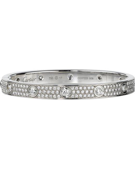 Cartier   Metallic Love 18Ct White-Gold And Diamond Bracelet   Lyst