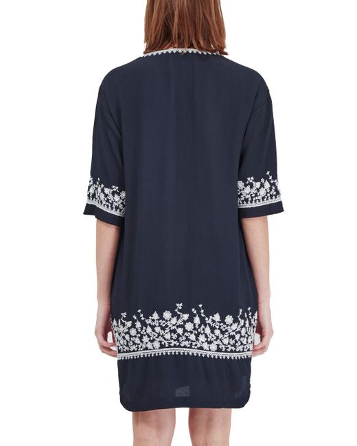 French Connection Jasmine Drape Embroidered Tunic Dress In