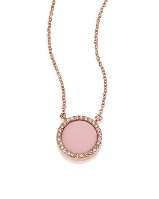 Michael Kors | Pink Blush Pave Pendant Necklace | Lyst