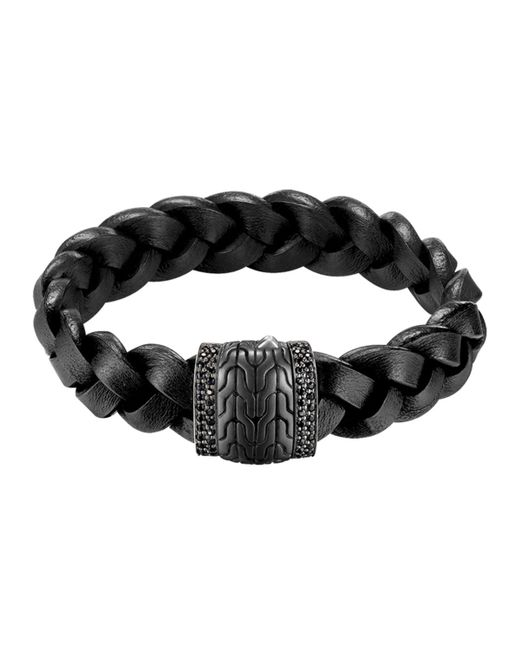 John Hardy | Men's Black Bronze Braided Leather Bracelet for Men | Lyst