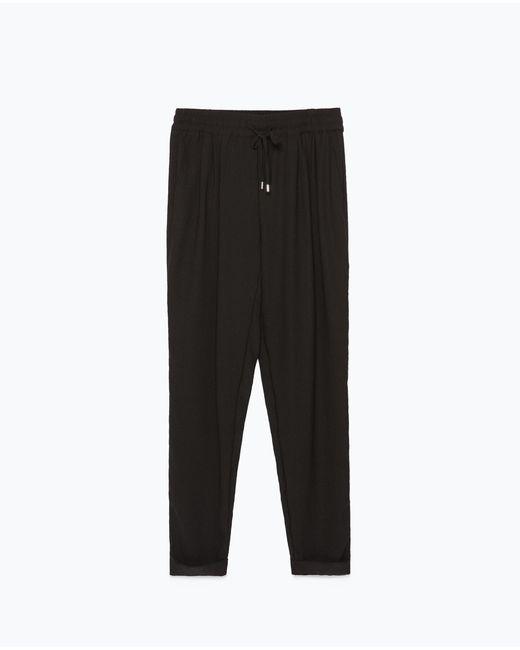 Zara | Black Drawstring Waist Trousers | Lyst