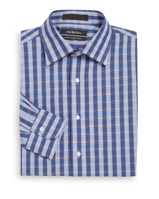 Saks fifth avenue slim fit plaid check dress shirt in blue for Navy blue checkered dress shirt
