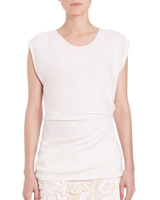 3.1 Phillip Lim | White Ruched Cap-sleeve Top | Lyst