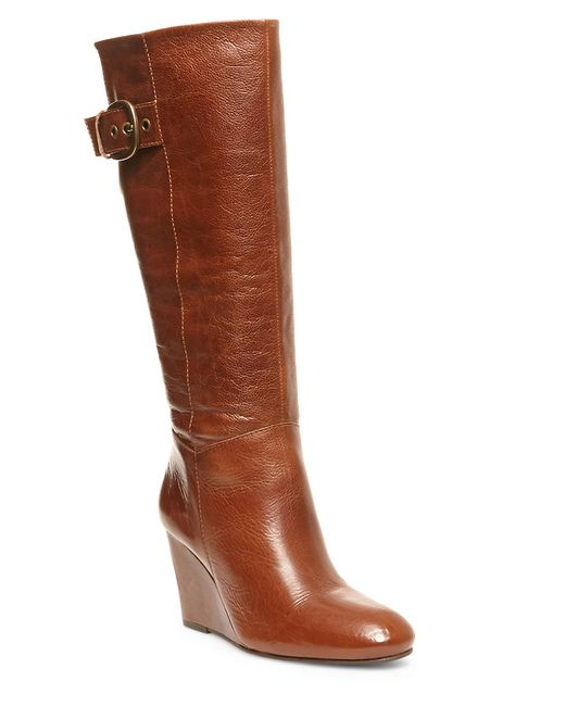 steven by steve madden matik leather wedge boots in brown