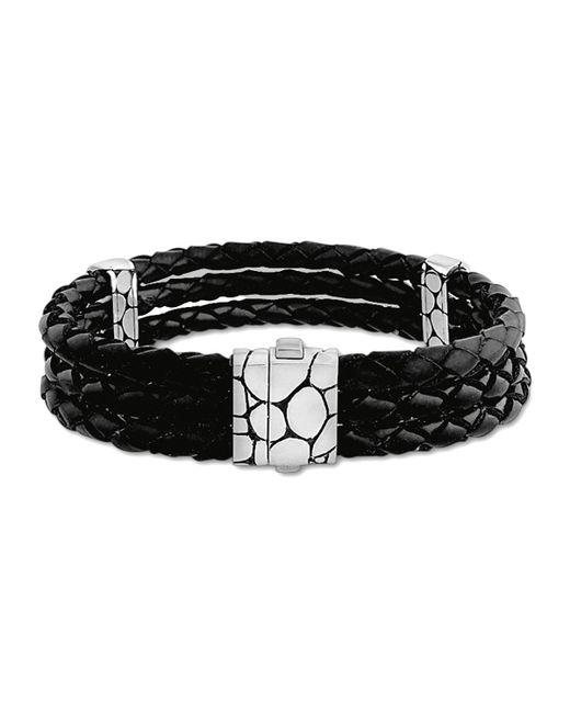 John Hardy   Kali Black Woven Leather Triple-row Bracelet   Lyst