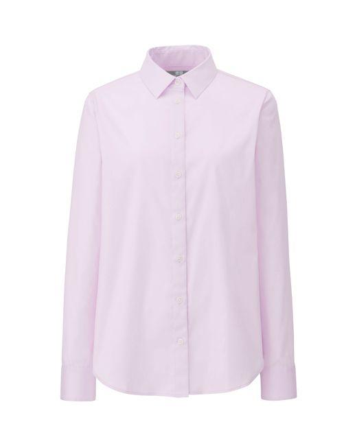 Uniqlo women supima cotton stretch long sleeve shirt in for Lightweight long sleeve shirts women s
