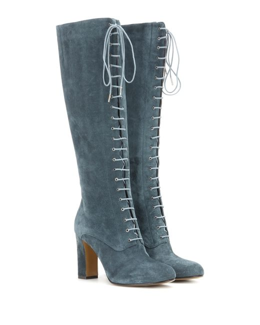 etro suede lace up knee high boots in blue turquoise