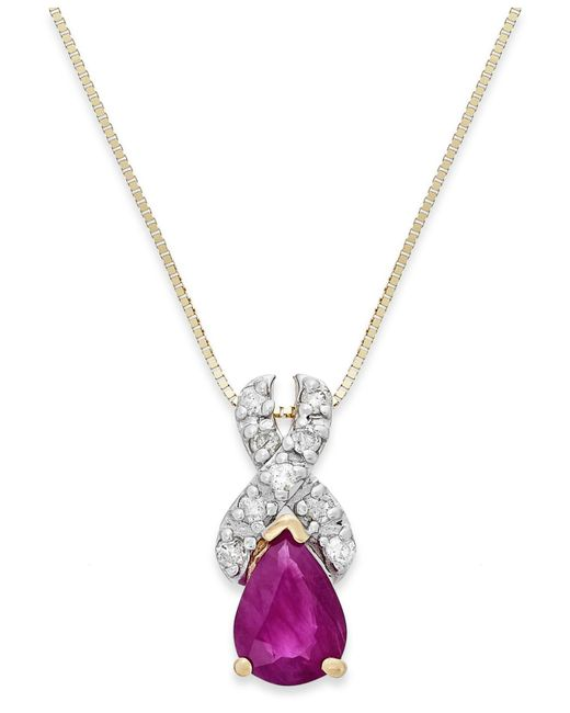 Macy's | Metallic Ruby (3/4 Ct. T.w.) And Diamond (1/10 Ct. T.w.) X-pendant Necklace In 14k Gold | Lyst
