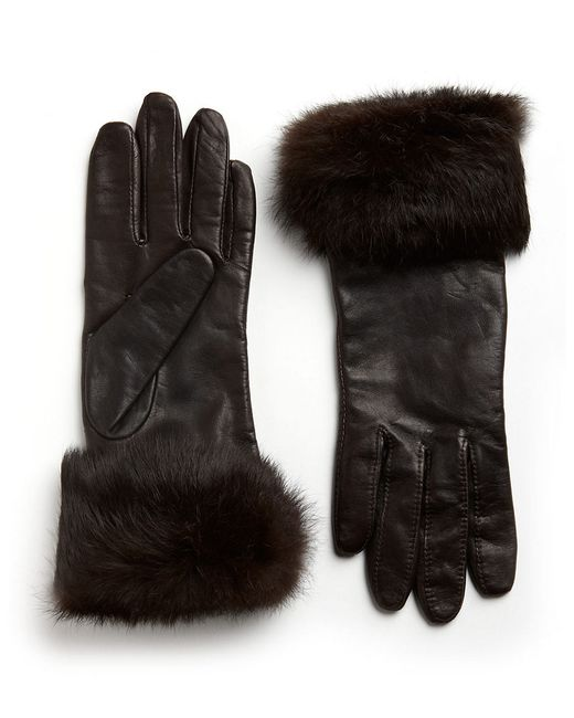 Lord & Taylor   Brown Leather Rabbit Fur-cuff Gloves   Lyst