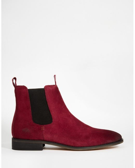Unique Women Shoes Boots Park Lane Boots Park Lane Velvet Chelsea Boots Red