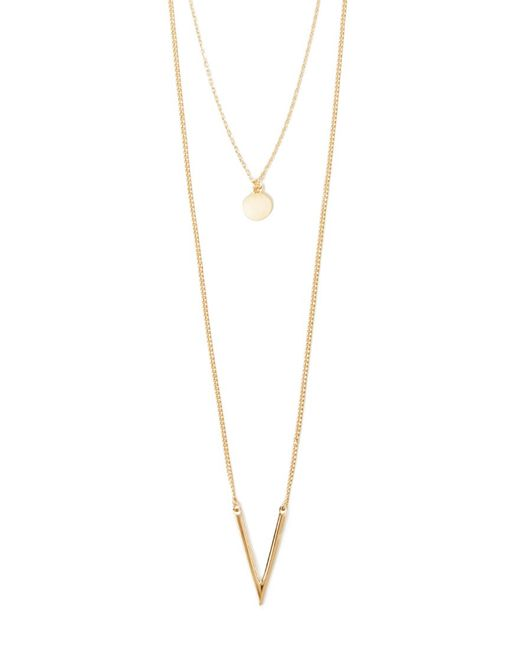 Forever 21 | Metallic Layered V-pendant Necklace | Lyst