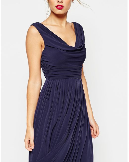 Cowl Neck Wedding Gown: Asos Wedding Cowl Neck Midi Dress In Blue (Navy)