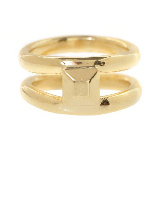 Jill Golden | Metallic Double Band Pyramid Ring | Lyst