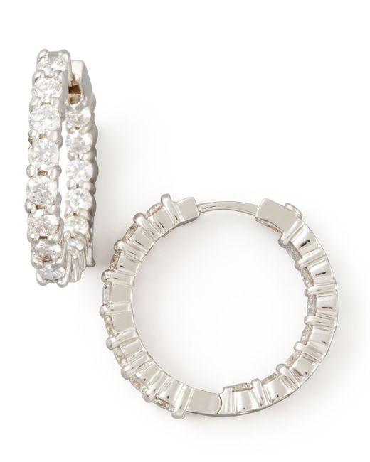 Roberto Coin | Metallic 23mm White Gold Diamond Hoop Earrings | Lyst