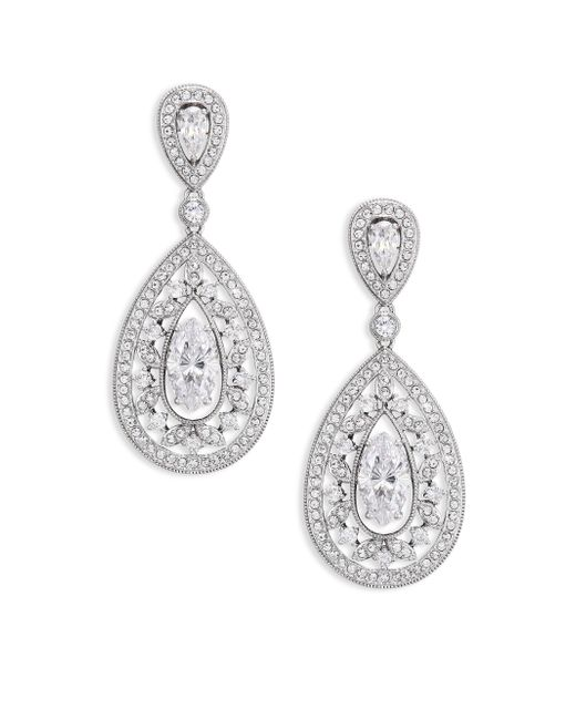 Adriana Orsini   Metallic Pave Crystal Small Pear Drop Earrings/silvertone   Lyst