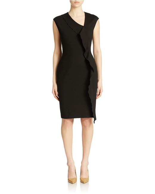 Anne Klein | Black Cap Sleeve Cascade Ruffle Sheath Dress | Lyst