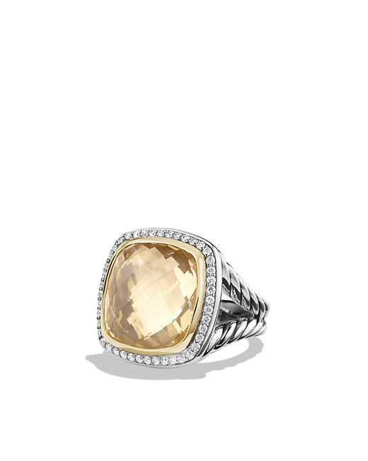 David Yurman | Metallic Albion Ring With Champagne Citrine And Diamonds With 18k Gold, 17mm | Lyst