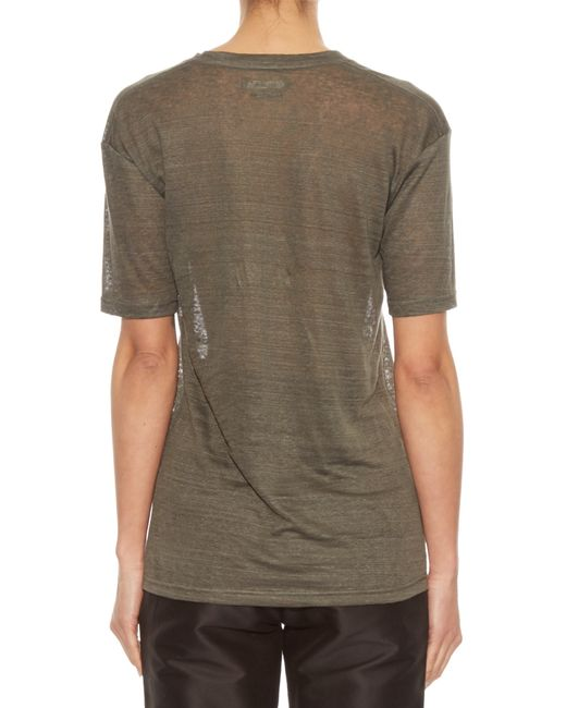 Isabel marant maree linen t shirt in gray lyst for Isabel marant t shirt sale