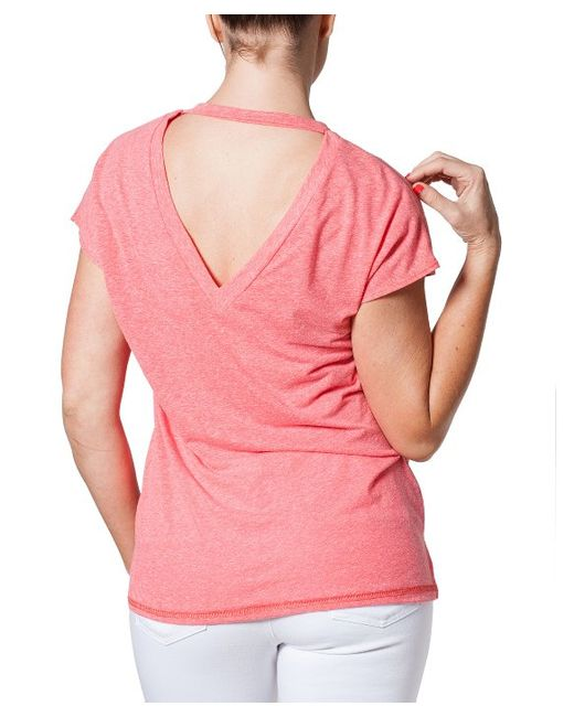 Bungalow 20 Coral Boyfriend Scoop V Back T Shirt In Pink