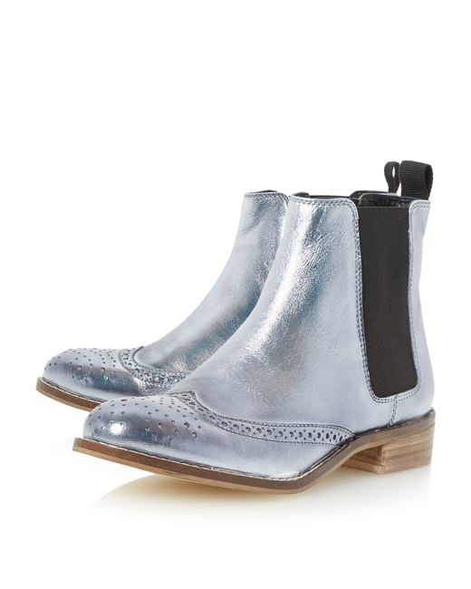 dune quentin brogue chelsea boots in silver pewter lyst. Black Bedroom Furniture Sets. Home Design Ideas