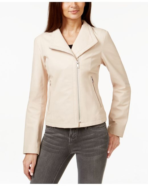 Cole Haan Asymmetrical Leather Moto Jacket In Pink Blush
