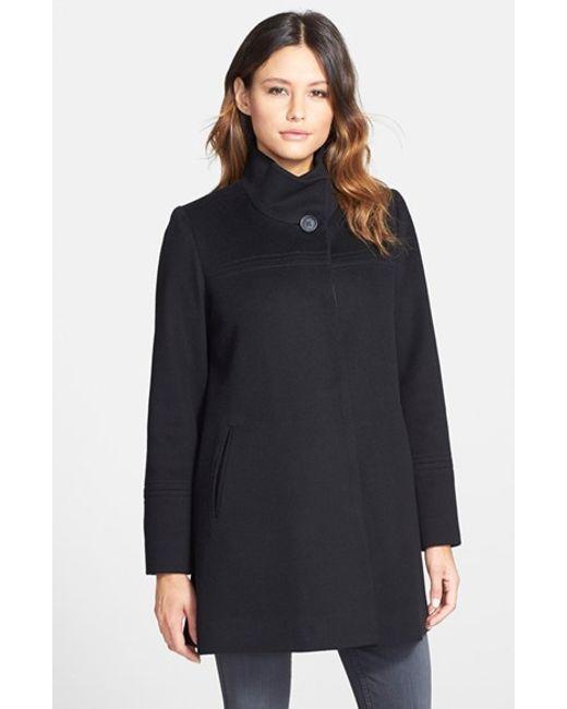 Fleurette | Black Women'S Stand Collar Loro Piana Wool Coat | Lyst