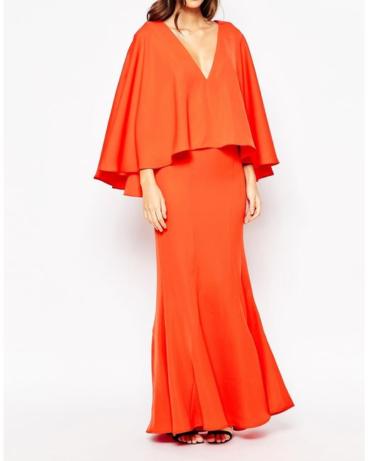 Jarlo | Red Makena Plunge Front Maxi Dress With Exaggerated Frill | Lyst