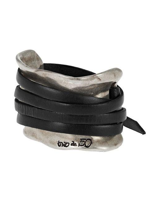Uno De 50 | Black Leather Strap Accented Cuff Bracelet | Lyst