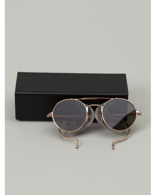 Gold Color Frame Sunglasses : Thom browne Round Frame Sunglasses in Gold (metallic) Lyst