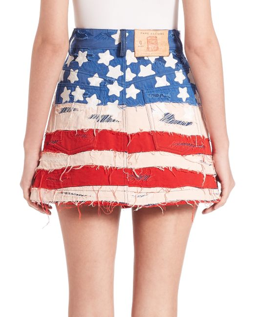 Marc jacobs American Flag Denim Mini Skirt in Red - Save 65% | Lyst