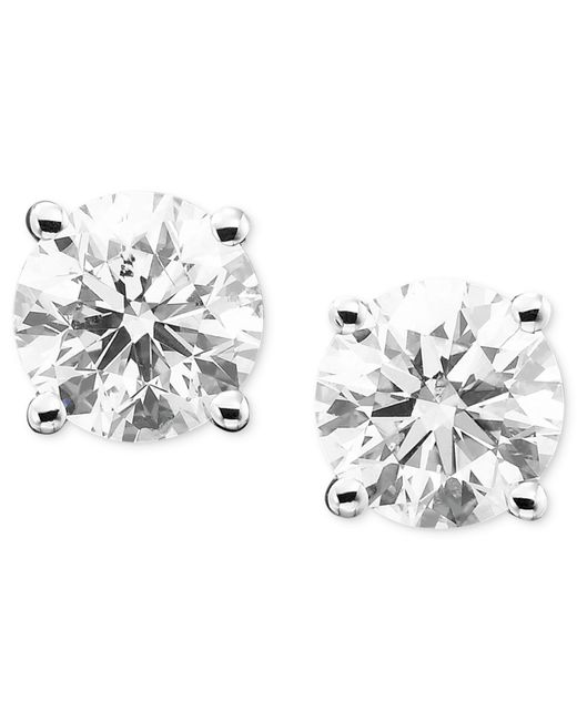 Macy's | Metallic Diamond Stud Earrings (1/3 Ct. T.w.) In 14k White Or Yellow Gold | Lyst