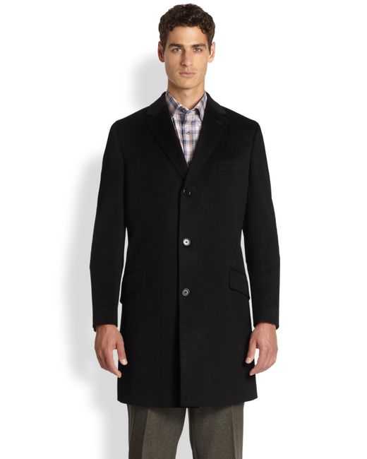 Saks Fifth Avenue | Black Quilted Wool-blend Coat for Men | Lyst