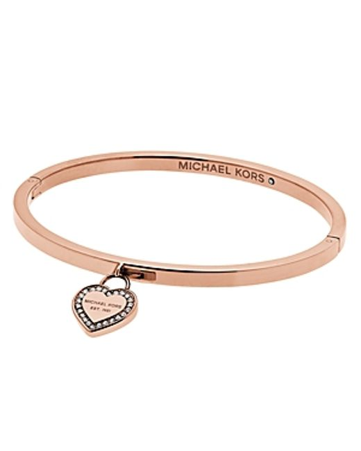 Michael Kors Hinge Bangle With Heart Charm In Gold Rose