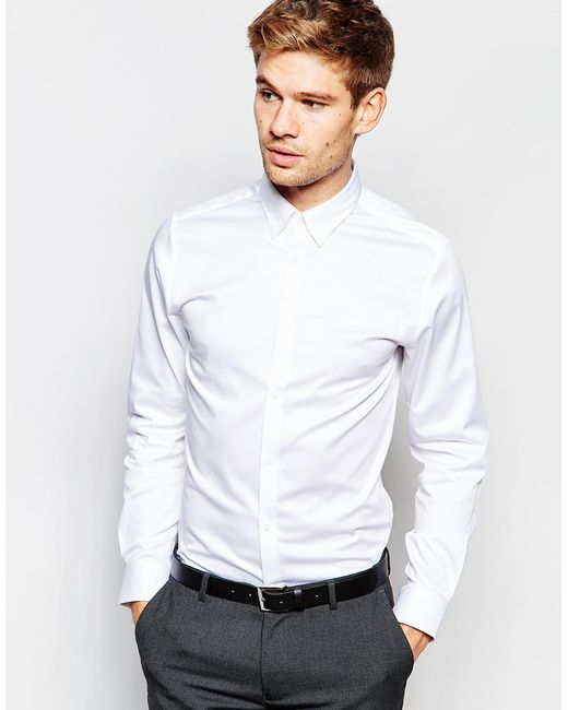 Selected Shirt With Concealed Button Down Collar In Slim