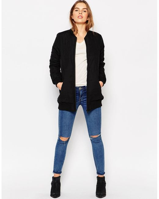 vero moda quilted bomber jacket in black save 31 lyst. Black Bedroom Furniture Sets. Home Design Ideas
