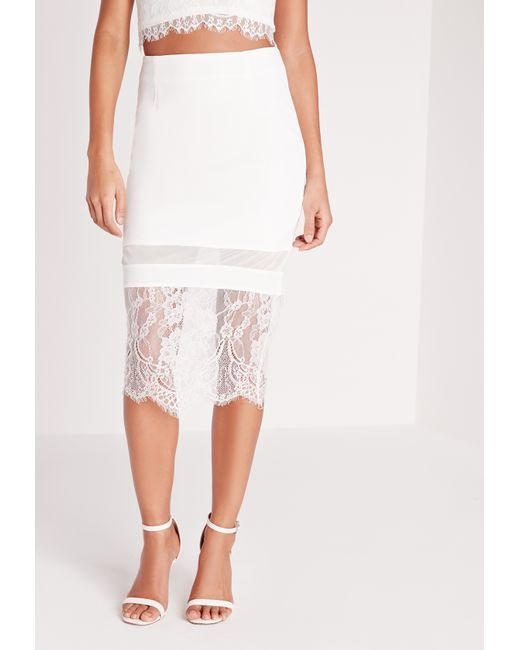 missguided lace hem midi skirt white in white save 16