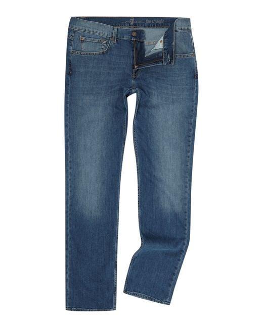 7 For All Mankind   Blue Slimmy Straight-leg Jeans for Men   Lyst