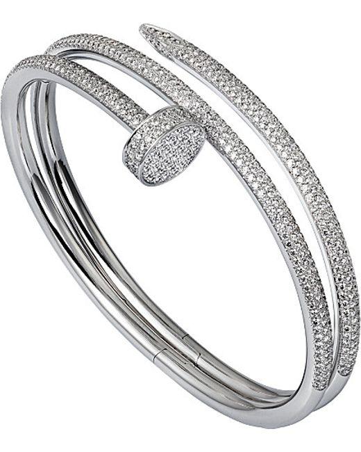 Cartier | Metallic Juste Un Clou 18ct White-gold And Diamond Double Bracelet | Lyst