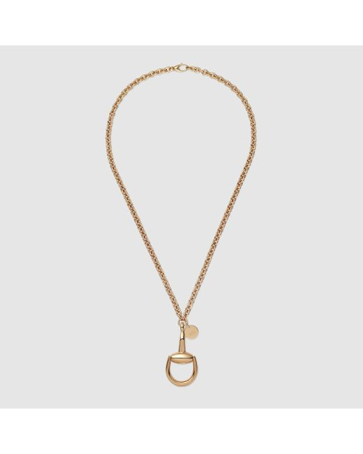 Gucci | Yellow Horsebit Necklace With Pendant | Lyst