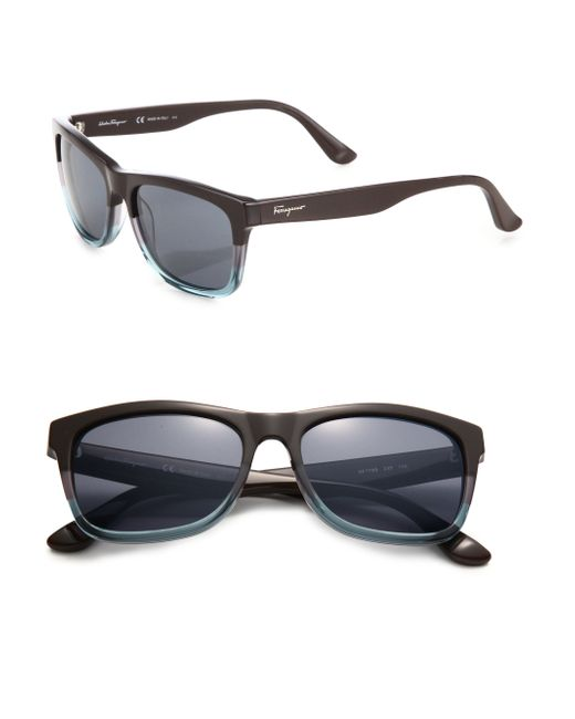 Ferragamo | Blue 55mm Square Sunglasses for Men | Lyst