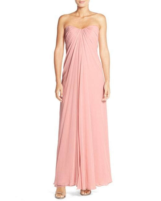 Dessy Collection | Pink Sweetheart Neck Strapless Chiffon Gown | Lyst