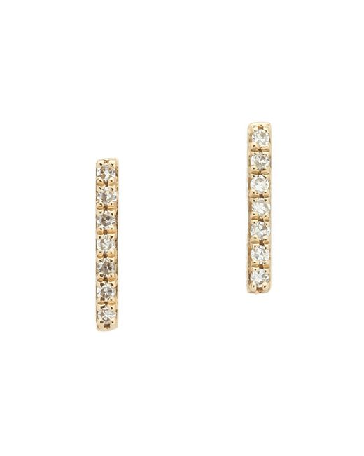 EF Collection | Metallic Diamond Bar Stud Earrings | Lyst