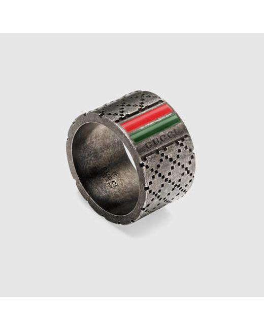 Gucci   Metallic Wide Ring With Diamante Motif for Men   Lyst