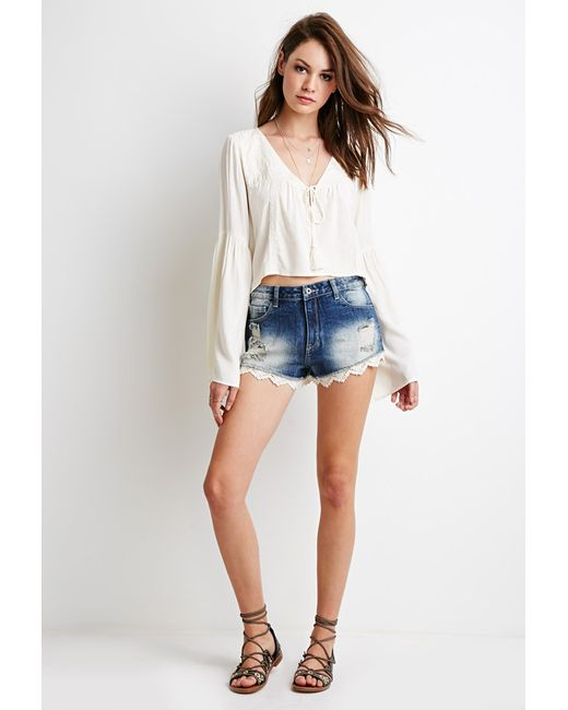 Forever 21 | Blue Lace-hemmed Denim Cutoffs | Lyst